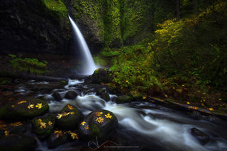 oregon, ponytail falls, columbia river gorge, autumn, waterfall