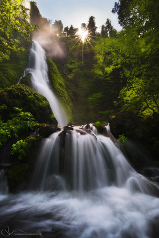 oregon, spring, waterfall, falls, sunlight, columbia river gorge, trees