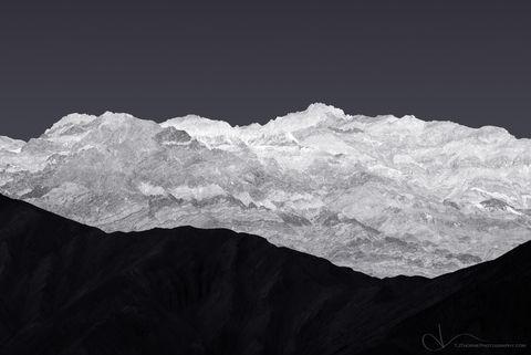 mountain, monochrome, death valley, desert, blue, tri, three, design, landscape, nature, california, no person, black and white