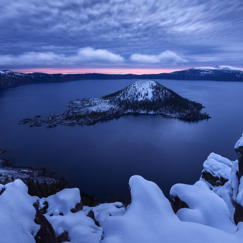 oregon, crater lake, snow, sunrise, artist-in-residency