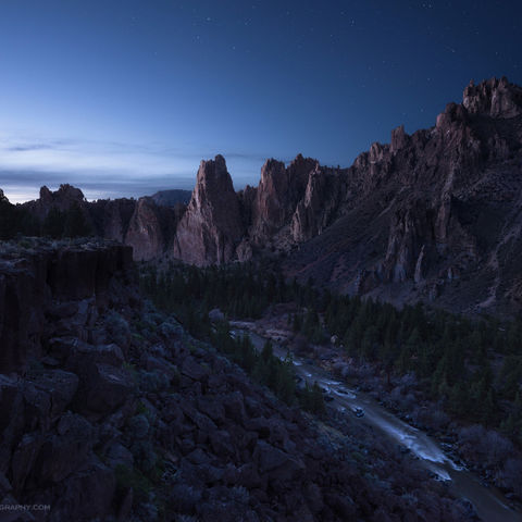 twilight, smith rock, oregon, river, canyon