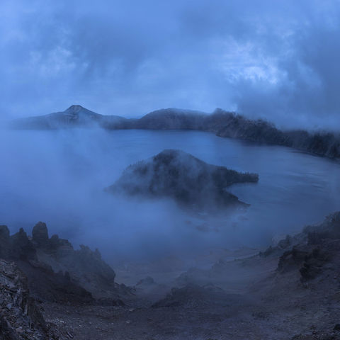 crater lake, oregon, lake, fog, panorama, artist-in-residency
