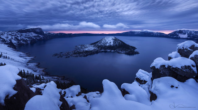 oregon, crater lake, snow, sunrise, artist-in-residency