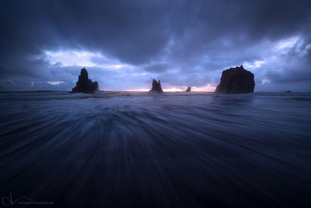 oregon, coast, storm, clouds, beach