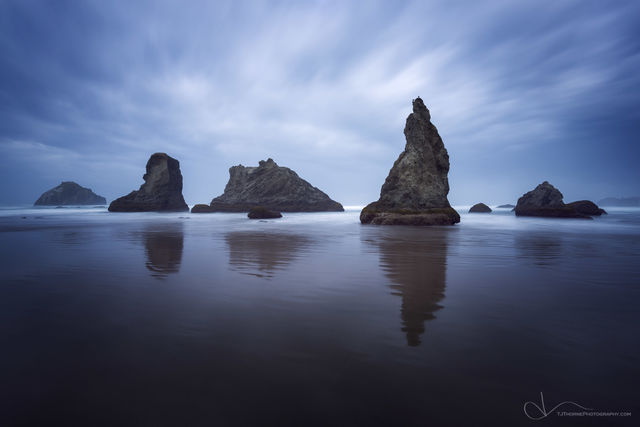 bandon, sea stacks, face rock, beach, oregon