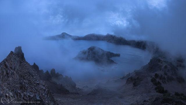 crater lake, oregon, lake, fog, panorama, artist-in-residency