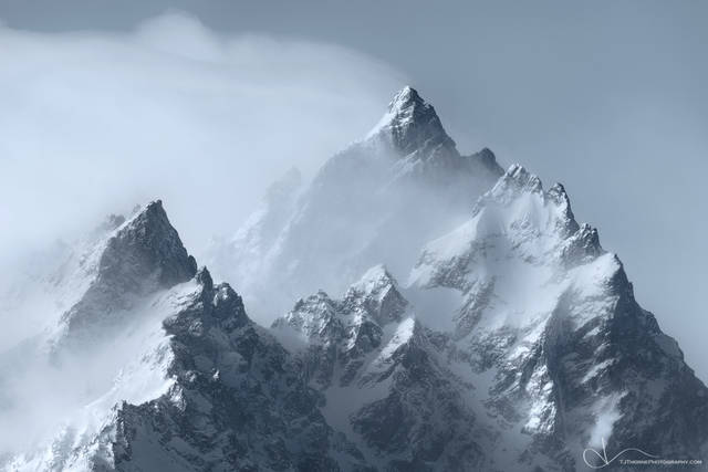 snow, mountain, cathedral, grand teton, national park, wyoming