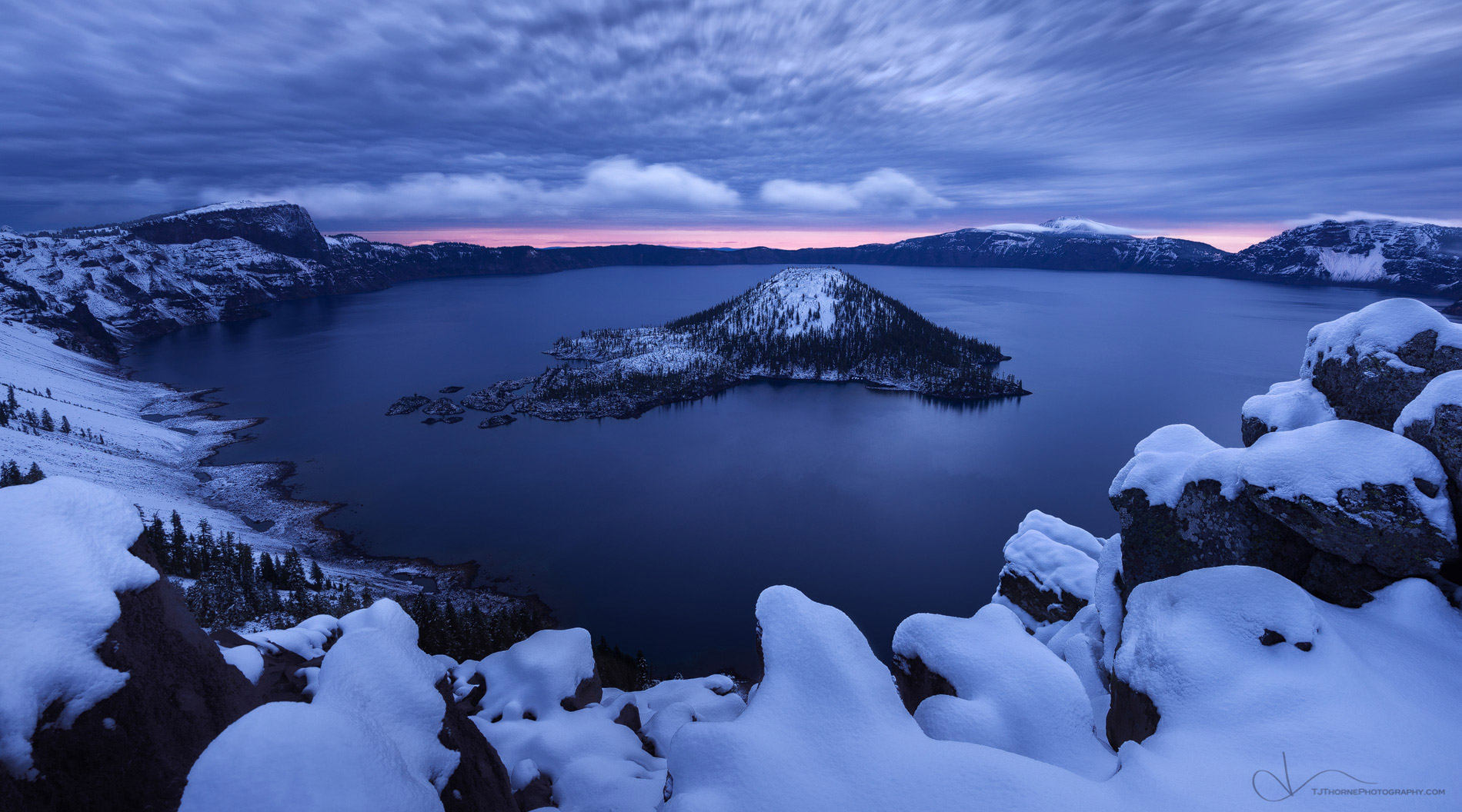 oregon, crater lake, snow, sunrise, artist-in-residency, photo